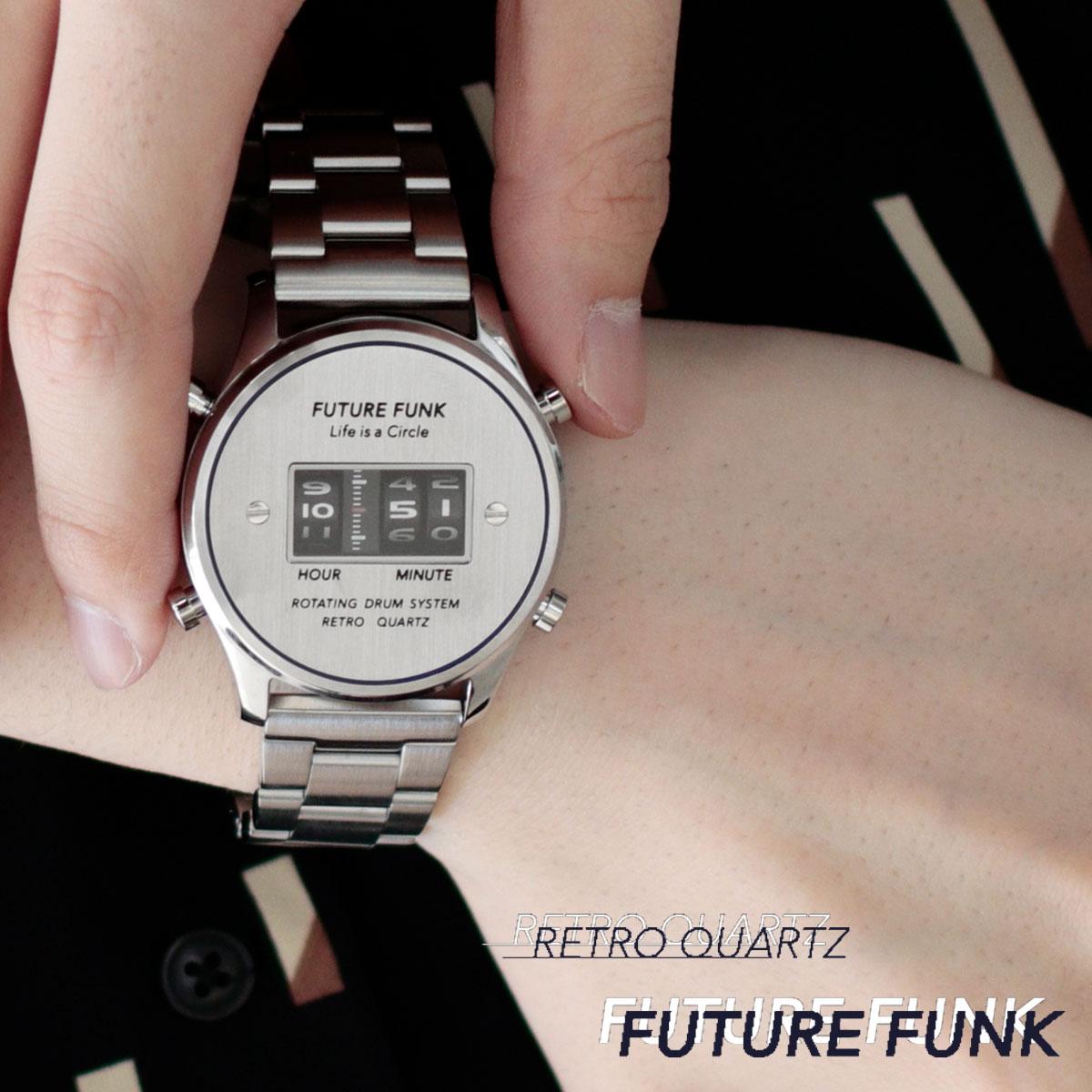 FUTURE FUNK フューチャーファンク FF102-SVBU-MT クオーツ腕時計 メンズ シルバー アナログ デジタル ウォッチ メタルバンド ギフト プレゼント