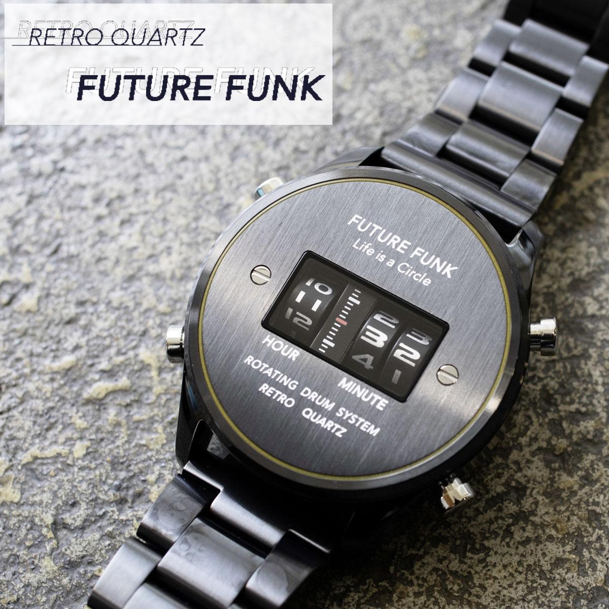 FUTURE FUNK フューチャーファンク FF102-BKYL-MT クオーツ腕時計 メンズ ブラック アナログ デジタル ウォッチ メタルバンド ギフト プレゼント