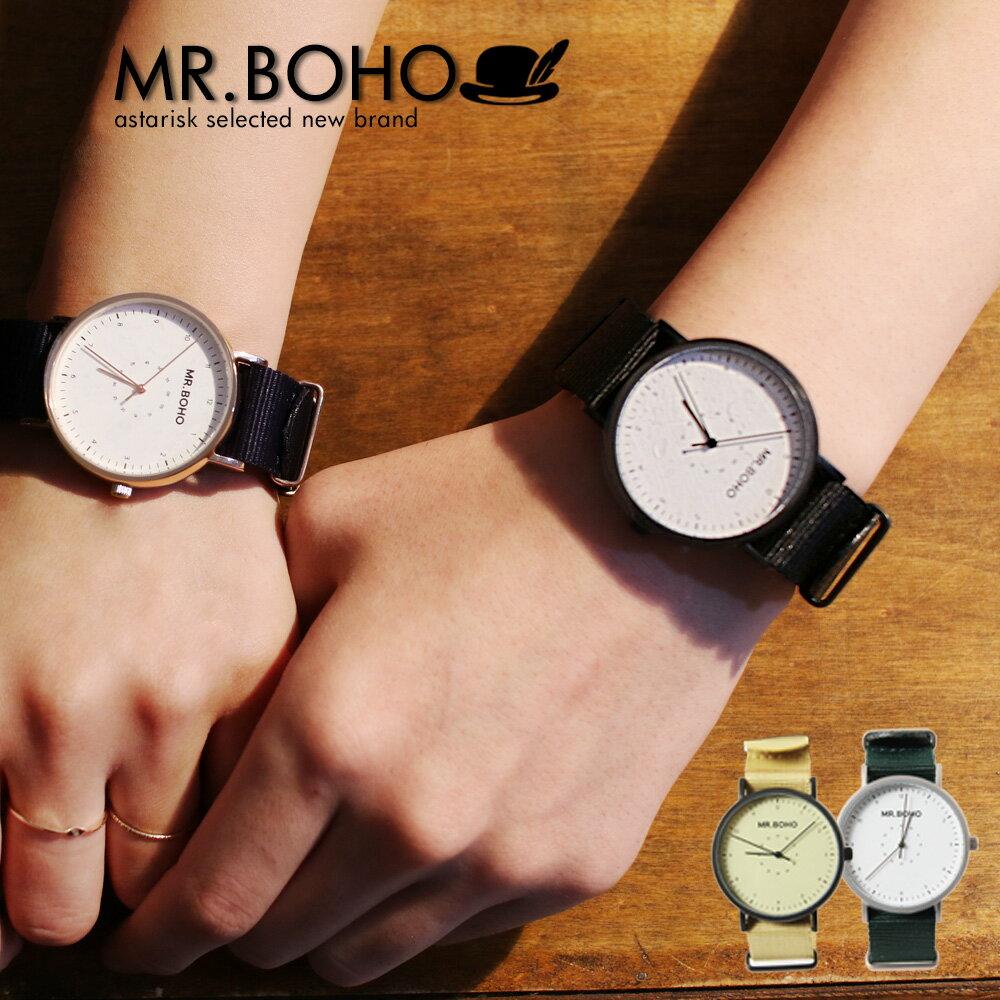 MR.BOHO CASUAL CLASSIC ウォッチ レディース メンズ 女性 男性 5気圧防水 40mm クオーツ 電池式 腕時計 NATOストラップ ネイビー/ブラック/ベージュ/グリーン 60-CP9/ 61-IP9/ 63-BP12/ 67-BW