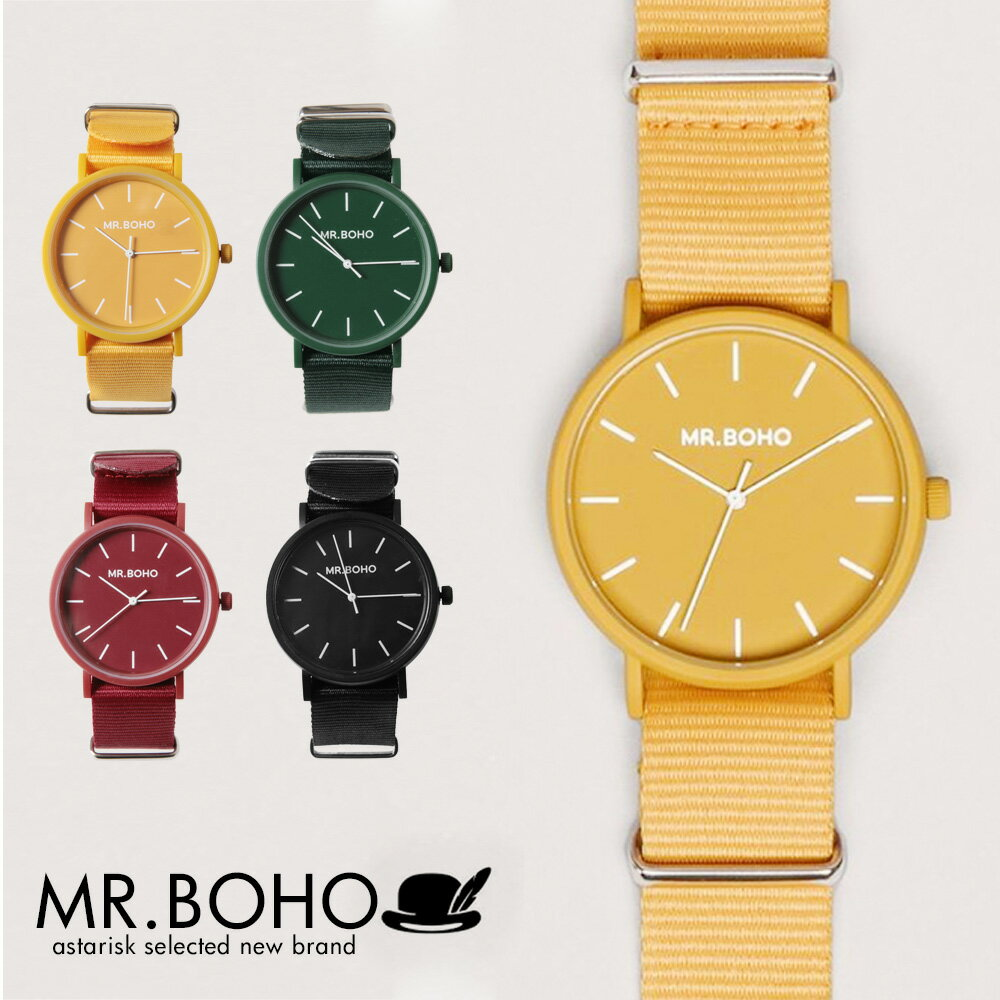 MR.BOHO GOMATO ウォッチ レディース メンズ 女性 男性 3気圧防水 40mm クオーツ 電池式 腕時計 NATOストラップ G10ストラップ ネイビー/イエロー/ワイン/グリーン 31-OO/ 32-NN/ 25-VV/ 27-GG