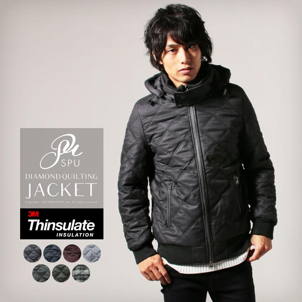 キルティングジャケット ジャケット メンズ 男性 シンサレート高機能中綿素材 ダイヤキルティング 取り外し可能フード付き