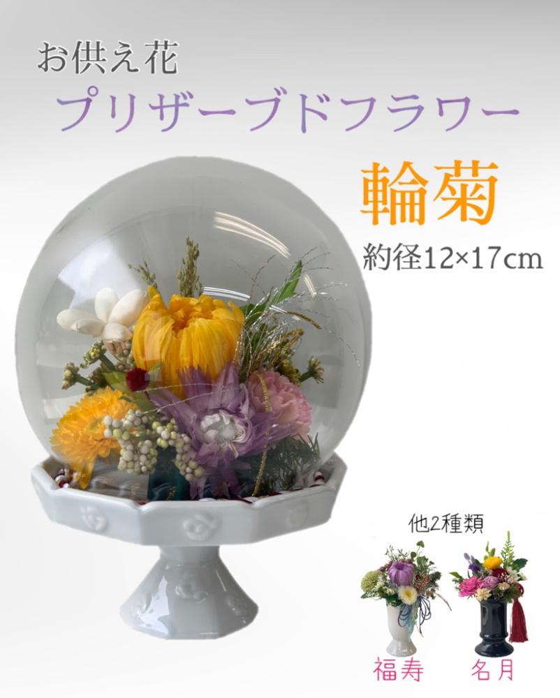 ブランド品 法事 割引も実施中 帰省の手土産に 大切なご先祖様へのご供養にいつもきれいなお花を プリザーブドフラワー お供え花輪菊 約径12×17cm 仏花 ガラスドーム PSG-2444 供花