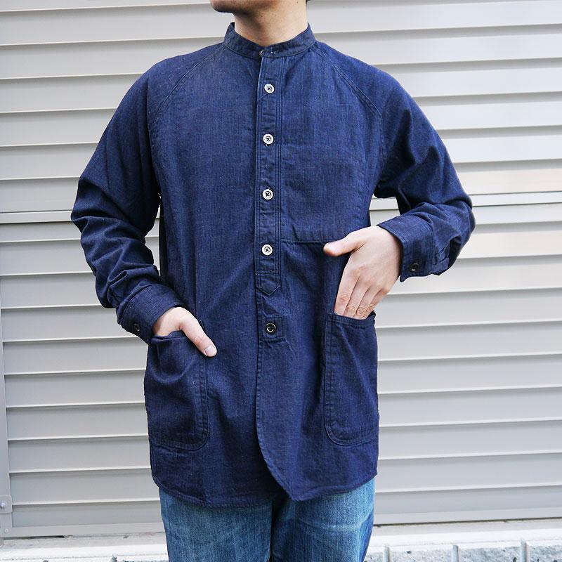 ジャパンブルージーンズ デニムシャツ メンズ バンドカラーシャツ シャツジャケット デニムジャケット JAPAN BLUE JEANS 岡山デニム ノーカラージャケット ジーンズ おすすめ 世田谷ベース