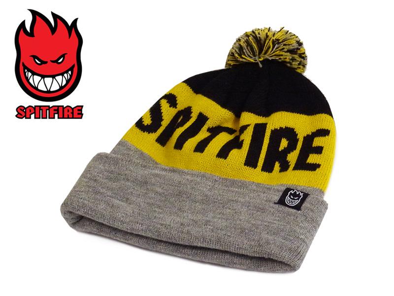 ... ☆ SPITFIRETRI HOMBRE POM BEANIE BLACK YELLOW GREY Pom Pom Beanie 13088   SK8 SKATEBOARD caps knit hats winter sweets  e23511e34f1