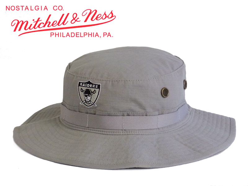 STREAM  ☆ MITCHELL NESSNHL OAKLAND RAIDERS BOONIE BUCKET GREY ... ed137950f05