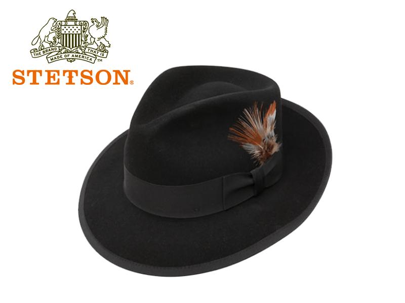 STETSON【ステットソン】 WHIPPET HAT BLACK ファーフエルト中折れハット ウィペット ブラック 15172 [メンズ レディース 高級ハット]