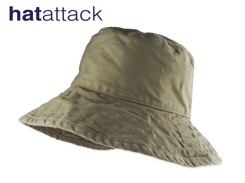 HAT ATTACK BAC101-ARMY ハットアタックUVカットコットンハット アーミー 11999 16490 ショッピング IN つば大きめ U.S.A. 10P05Sep15 NEW売り切れる前に☆ MADE 高級コットン素材 UV対策