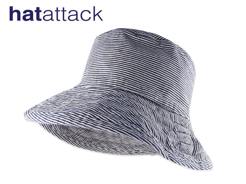 HAT ATTACK BAC101-STRIPE ハットアタックUVカットコットンハット ストライプ 日本 11999 16490 高級コットン素材 つば大きめ MADE ショッピング 10P05Sep15 U.S.A. UV対策 IN