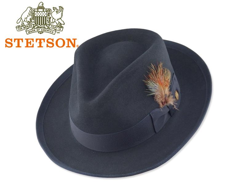 STETSON【ステットソン】 WHIPPET HAT NAVY ファーフエルト中折れハット ウィペット ネイビー 15172 [メンズ レディース 高級ハット]
