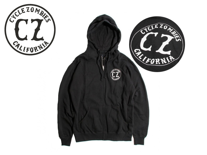 ☆CYCLE ZOMBIES【サイクルゾンビーズ】CALIFORNIA Zip Hooded BLACK ジップパーカー ブラック 17260 [メンズ レディース バイカー] 10P05Sep15