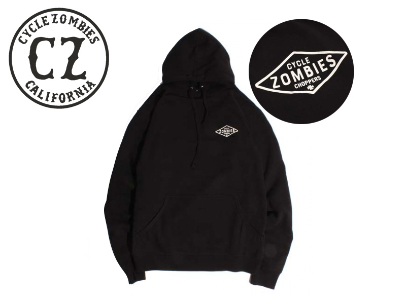 ☆CYCLE ZOMBIES【サイクルゾンビーズ】D.I.Y. Pull Over Hooded BLACK パーカー ブラック 17258 [メンズ レディース バイカー] 10P05Sep15