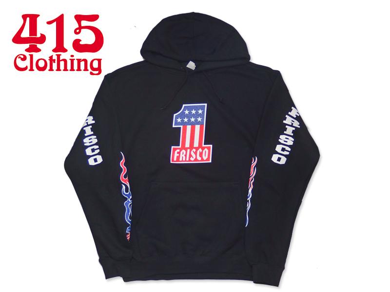 ☆415Clothing【415クロージング】Frisco #1 Hooded Pullover Black フリスコ フーディ プルオーバー ブラック 17283 [バイカー サンフランシスコ]