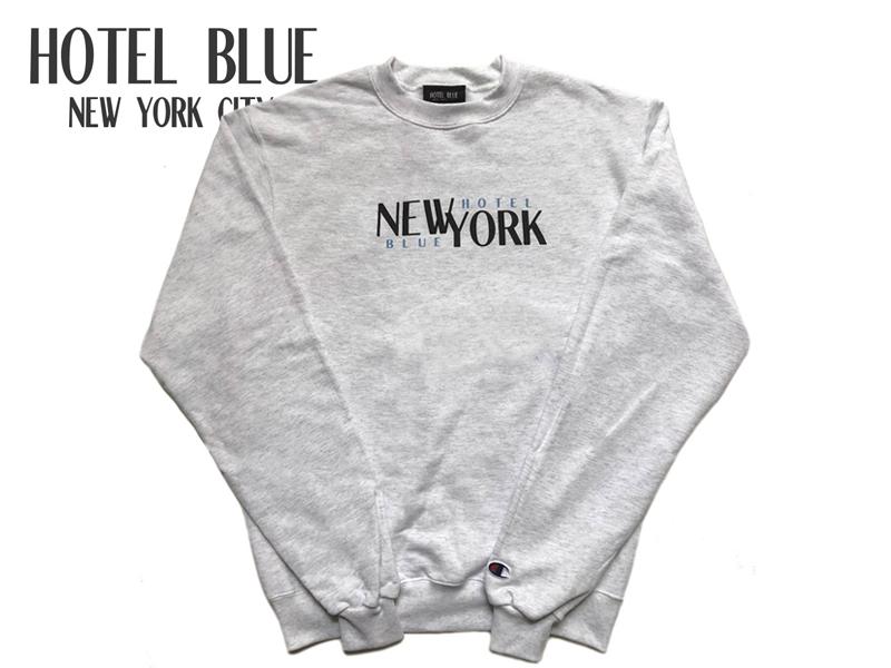 ☆HOTEL BLUE【ホテルブルー】STACKS CREWNECK SILVER GREY スウェット シルバーグレー 17386【送料無料】[SKATE パーカー メンズ レディース]