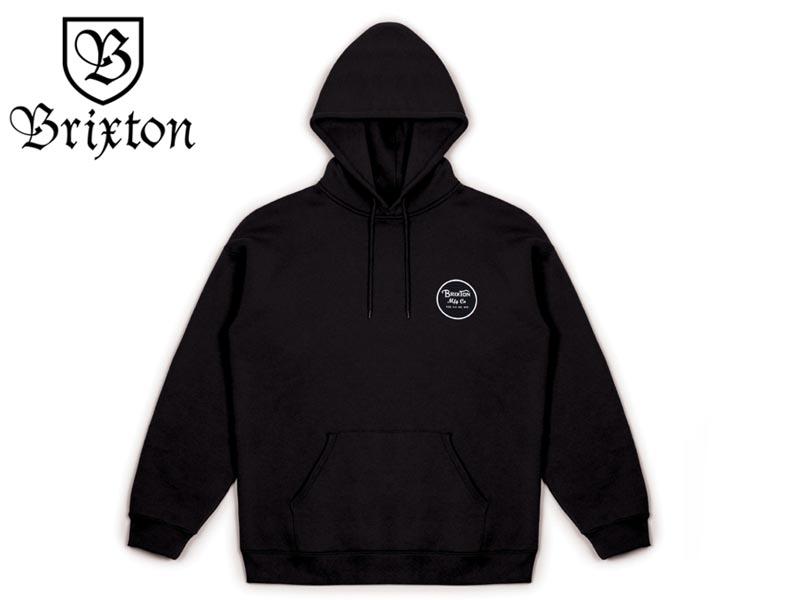 BRIXTON【ブリクストン】 WHEELER HOOD BLACK/WHITE パーカー ブラック 16551 [SKATE スケボー] 【送料無料】