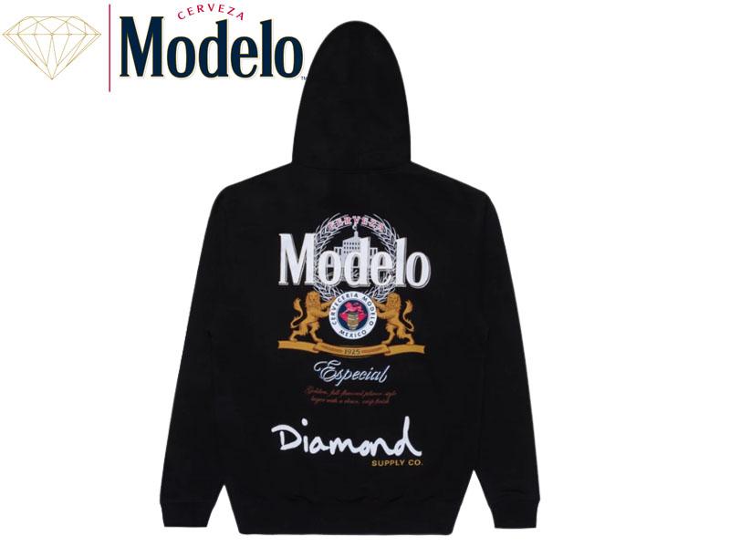 ☆DIAMOND SUPPLY X MODELO【ダイヤモンド×モデロ】ESPECIAL HOODIE BLACK フーディー ブラック 18223 [パーカー スケート SKATE メンズ レディース]