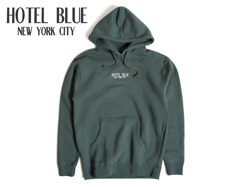 OUTLET SALE 送料無料 ☆HOTEL 2020モデル BLUE ホテルブルー LOGO HOODY ALPINE GREEN レディース SKATE グリーン フーディー メンズ パーカー 18302