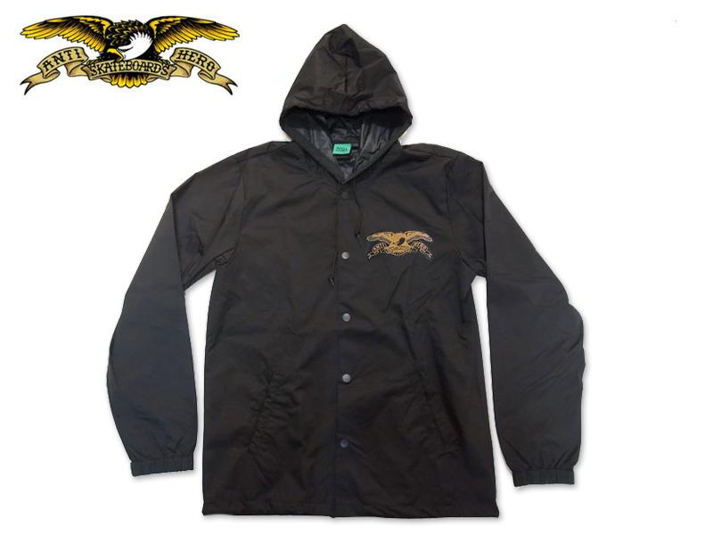 ☆ANTIHERO【アンタイヒーロー】STOCK EAGLE HOOD JACKET BLACK/BROWN フードジャケット ブラック/ブラウン 17165 [SKATE SK8 スケボー アンチヒーロー SUPREME]