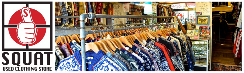 SQUAT USED CLOTHING STORE:ヨーロッパから直接買い付けた、厳選した古着を取り扱っております。
