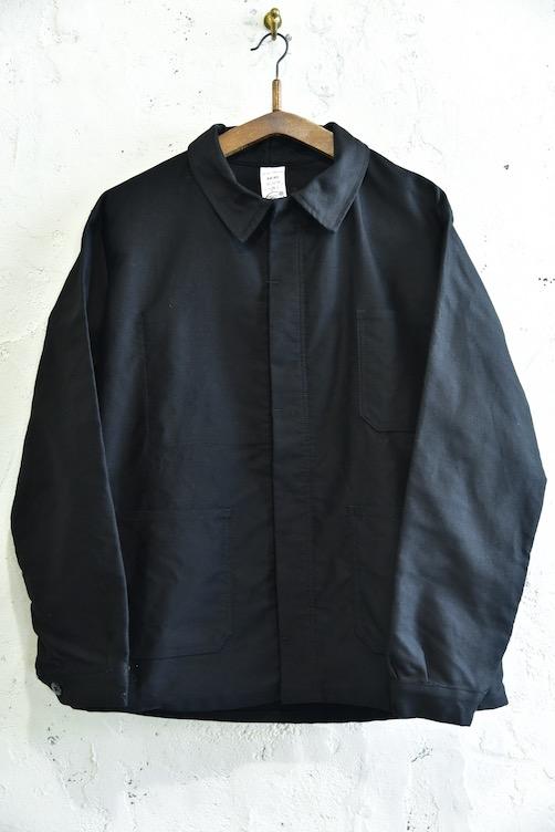 ヨーロッパ古着 送料無料激安祭 ユーロ ヴィンテージ ビンテージ フランス製 ブラックモールスキンワークジャケット DEAD 流行のアイテム STOCK