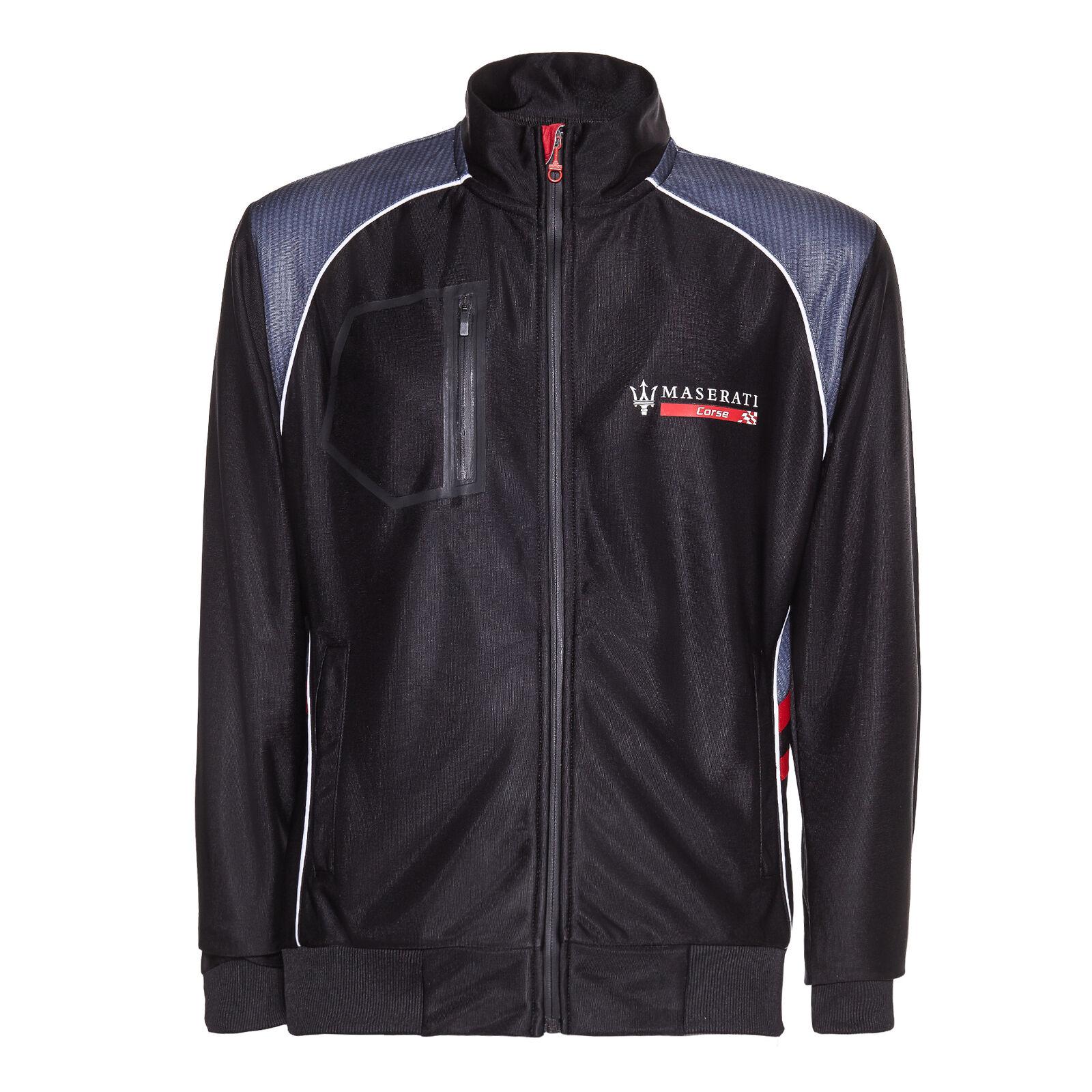 送料無料 Maserati Zip Up 待望 Sweatshirt 爆売り Jumper マセラティ ジャージ アウター ジャケット 長袖 ブラック ジップアップ