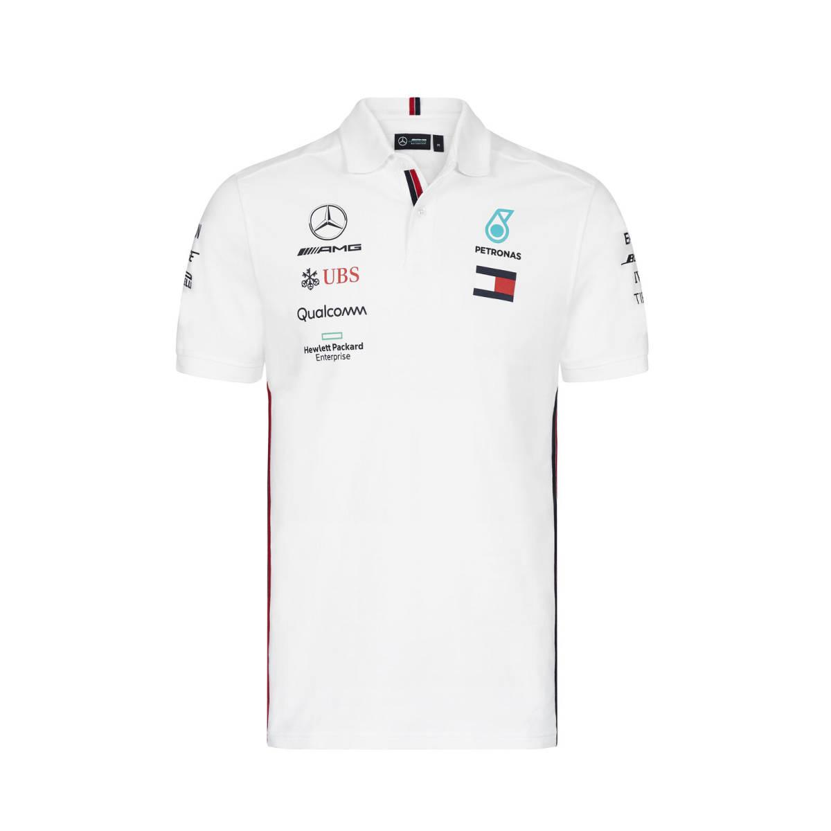 送料無料 Mercedes-AMG Official Team Polo Shirt Lewis ベンツ ハミルトン オフィシャル 限定価格セール 在庫あり ポロシャツ ホワイト ルイス Hamilton