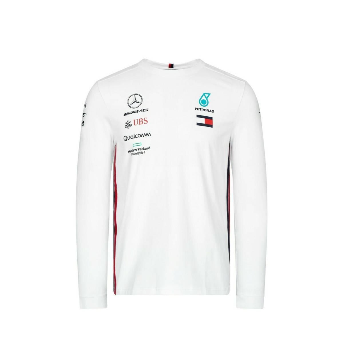 ★送料無料★Mercedes AMG F1 Official Team Lewis Hamilton ベンツ オフィシャル ルイス・ハミルトン ロンT ホワイト
