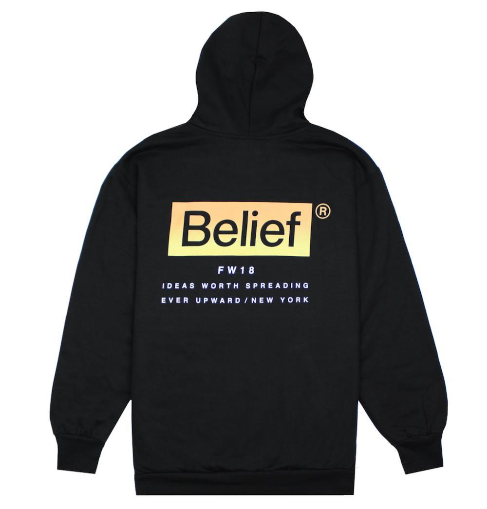 【あす楽対応】★送料無料★BELIEF NYC Box Logo Hoody Black ビリーフ ボックスロゴ プルオーバー パーカー フーディー ブラック