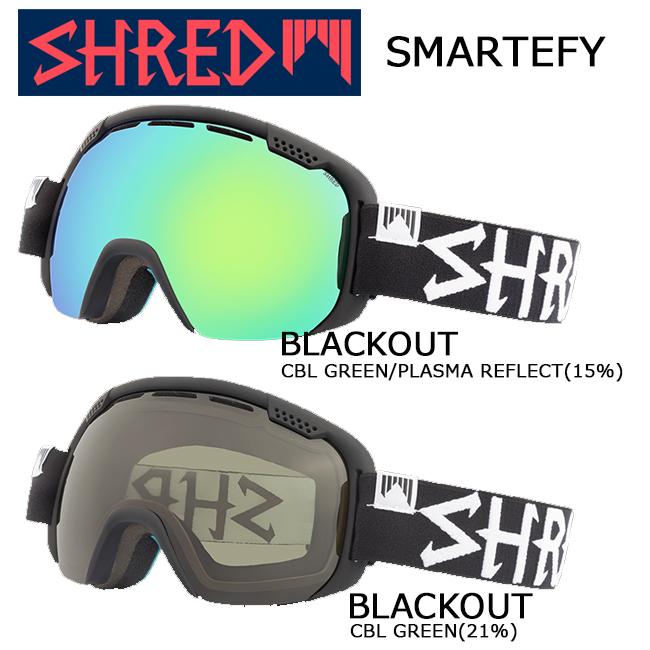 【最大1500円オフクーポン発行中10/11 1時59分まで】【送料無料】ゴーグル スノーゴーグル SHRED シュレッド SMARTEFY BLACKOUT スマーティファイダブルレンズ 球面レンズヘルメット対応 くもり止めスノーボード スキー ウィンタースポーツ