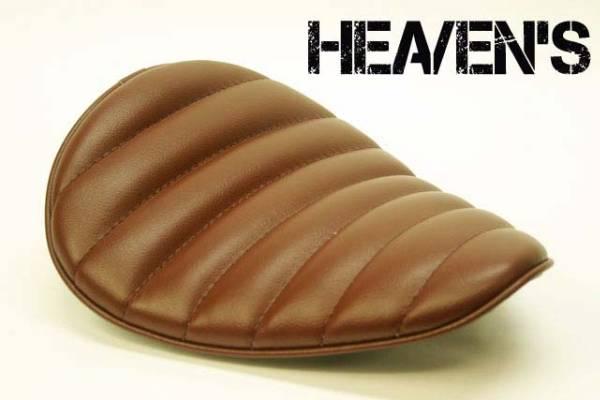 HEAVEN'S ソロシート(スーパーフラット)タックロール ブラウン/ヘブンズ 汎用 マーキュリーソロシート バイク用サドルシート