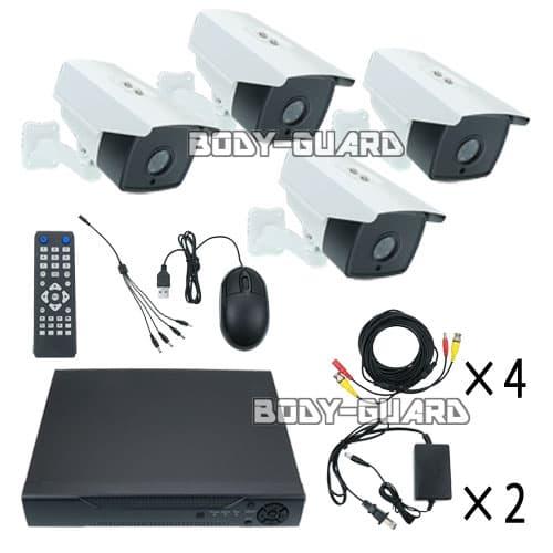 防犯カメラ レコーダーセット HDD容量2TB 高画質AHD 200万画素 ボックス型カメラ4台セット 水平解像度 1200TVL 防雨型 防水規格 IP66 屋外設置 HDD内蔵 2TBハードディスク 防犯 犯罪抑止 赤外線カメラ マウス操作可能