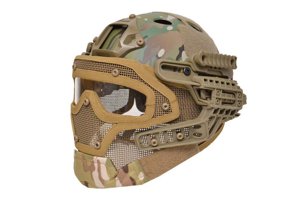 【送料無料】G4システム FASTヘルメット + フルフェイスマスク 1体型 サバゲー用 分離可能 (マルチカム)