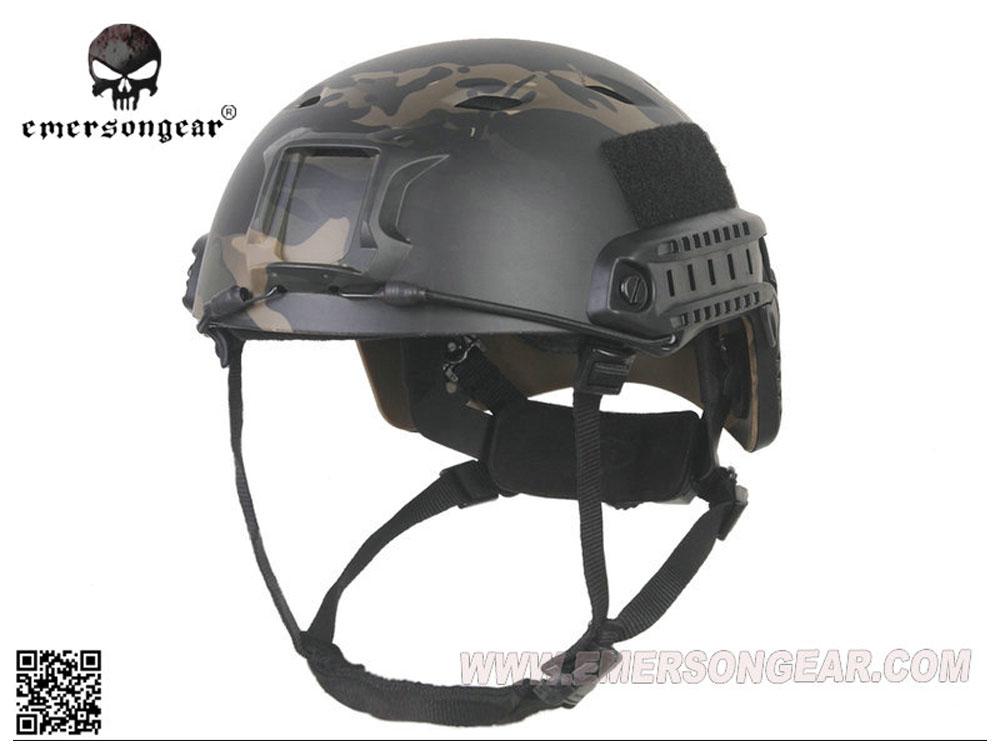 【送料無料】EMERSON製 菱形穴 FASTヘルメット BJタイプ ダイヤルライナー付き MultiCam Black マルチカムブラック迷彩