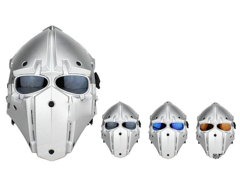 【送料無料】モジュラーヘルメット フルフェイスマスク ヘルメット フルフェイスマスク 1体型 電動換気ファン付 (シルバー)
