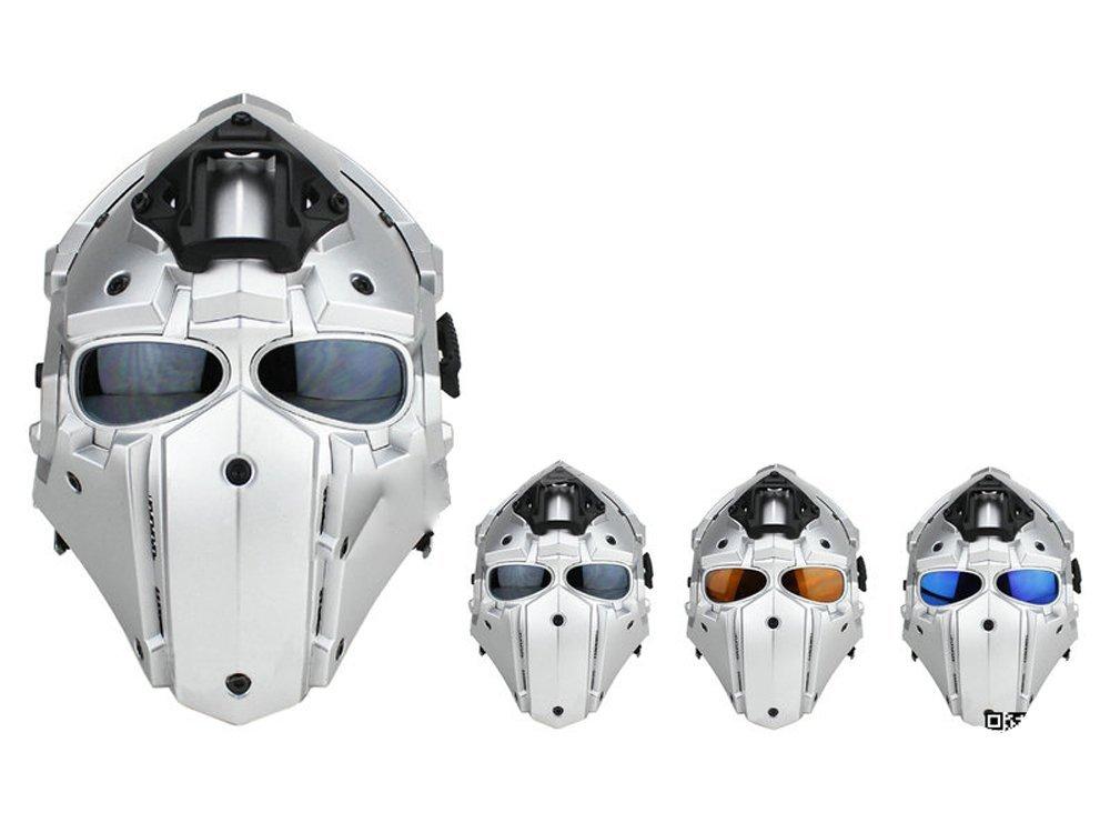 【送料無料】モジュラーヘルメット ヘルメット フルフェイスマスク 1体型 電動換気ファン付 NVGマウント付 (シルバー)