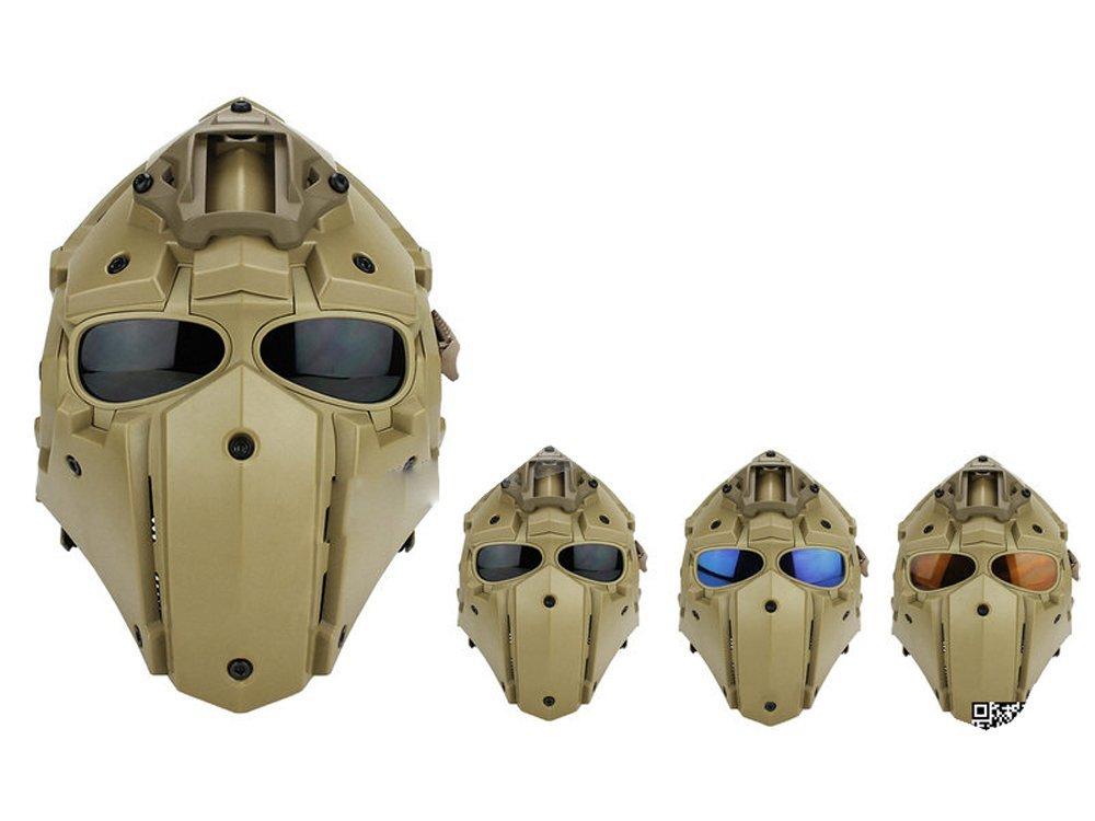 【送料無料】モジュラーヘルメット ヘルメット フルフェイスマスク 1体型 電動換気ファン付 NVGマウント付 (タンカラー)