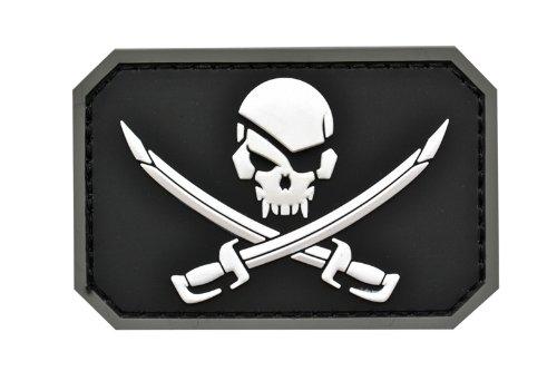 販売期間 限定のお得なタイムセール ワッペン ブラック サバゲー サバイバルゲーム ベルクロ パッチ ミリパチ ミリタリー コスプレ 装備 クロスソードスカル NAVY SEALs D410P06Aug16 PVC製 公式ストア 下地:黒色 スカル:白色 スカル 送料無料 クロスソード