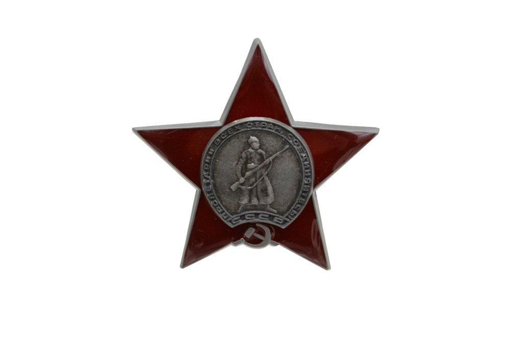 【送料無料】RU34 ソ連 ロシア 赤星勲章 徽章 勲章 金属バッジ メタルバッジ レプリカ ピンバッジ 銀 + 赤
