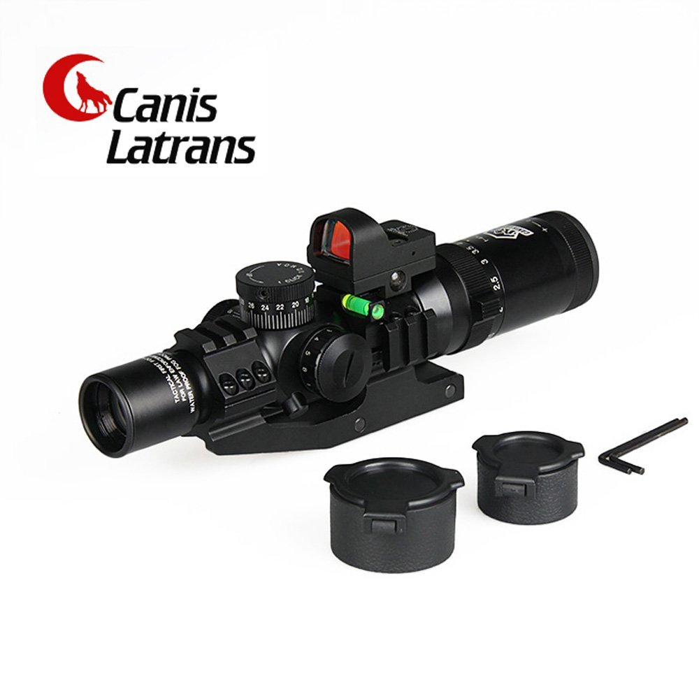 【送料無料】CANIS LATRAN製 水準器 ドットサイト付属 1-4倍x24 変倍可能 ライフルスコープ スナイパースコープ 黒色