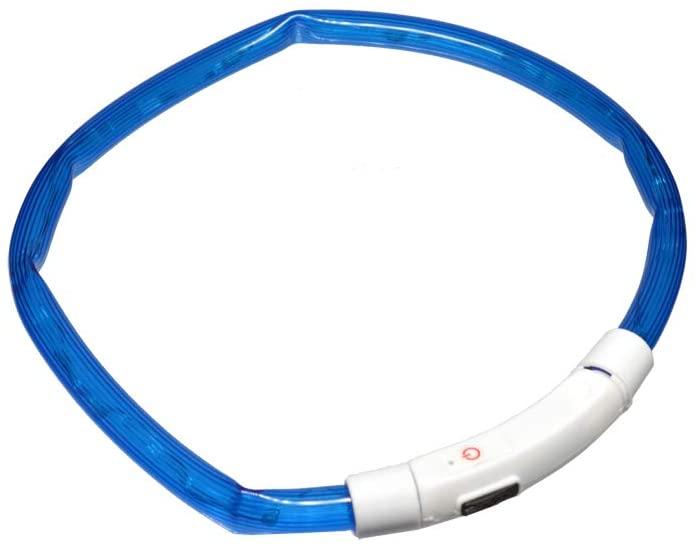首輪 LED首輪 犬 猫 ペット ペット用品 送料無料 DogOne ブルー 夜の散歩に 70cm 超安い USB充電式 休み 大型犬用 光る首輪 長さ調節可能