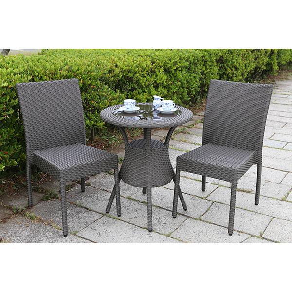 【ガーデンテーブルセット・屋外家具】ラタンテーブル60 ラタンガーデンチェア ガーデンテーブル3点セット