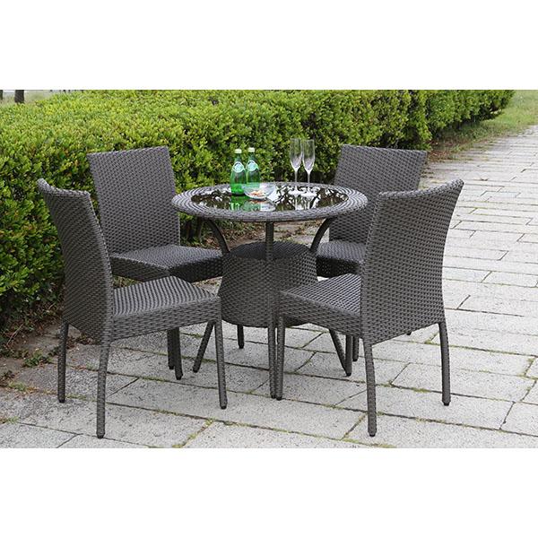 【ガーデンテーブルセット・屋外家具】ラタンテーブル80 ラタンガーデンチェア ガーデンテーブル5点セット