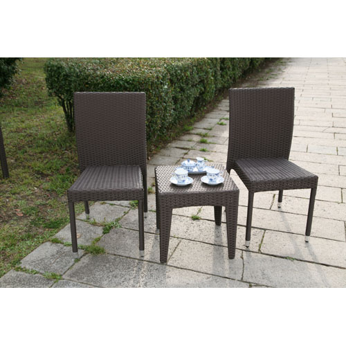 【ガーデンテーブルセット・屋外家具】ラタンサイドテーブル45 ラタンガーデンチェア ガーデンテーブル3点セット