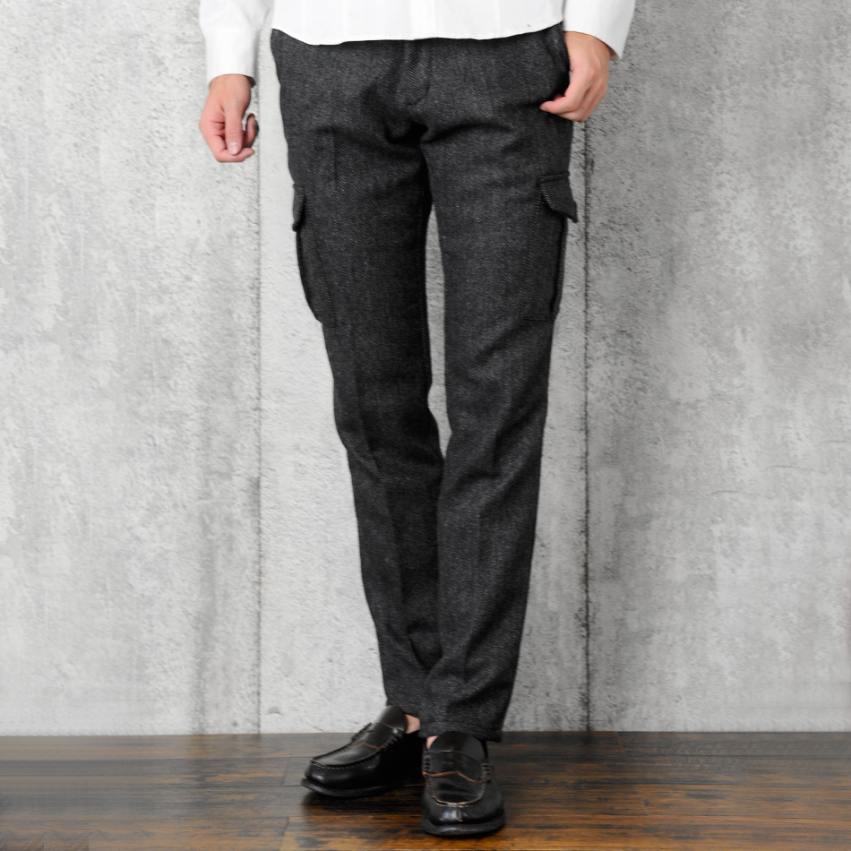 b78b25a9b8 All サークロ SACRO herringbone slim cargo pant men spring wool blend gray, etc.  two colors 30 31 32 33 34 16518 in the fall and winter
