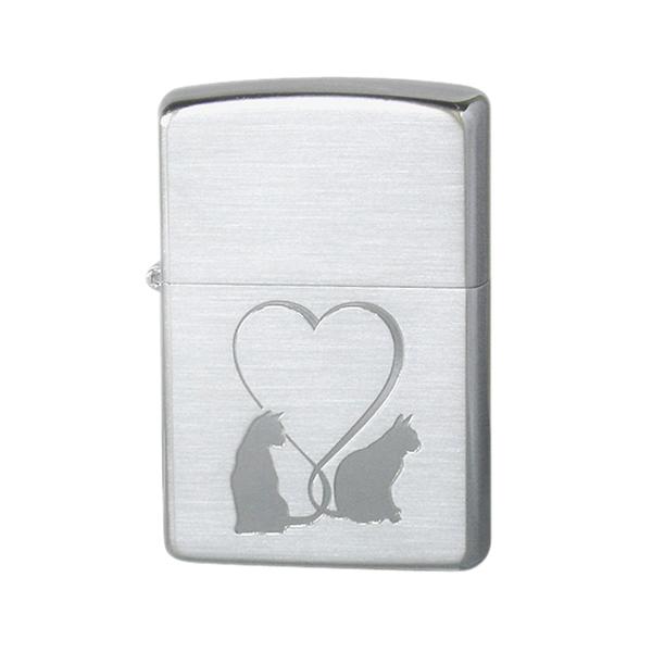 便利雑貨 ユニセックス ジッポ ZIPPO CAT in LOVE ライター 喫煙具 2CAT-SSC シルバー