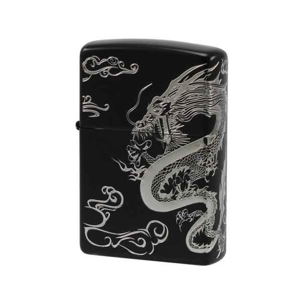 便利雑貨 メンズ ジッポ ZIPPO オイルライター 和柄シリーズ 龍S 2DRG-B ブラック/シルバー