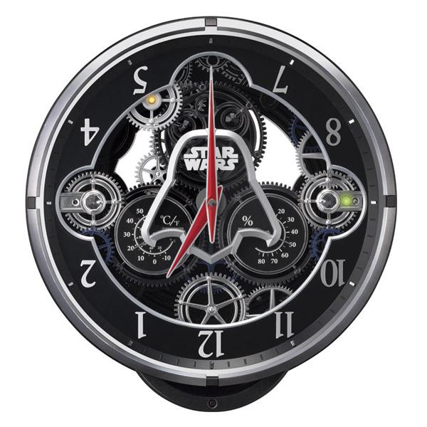 便利雑貨 リズム RHYTHM スター・ウォーズ 掛け時計 電波からくり 4MN533MC02 ブラック