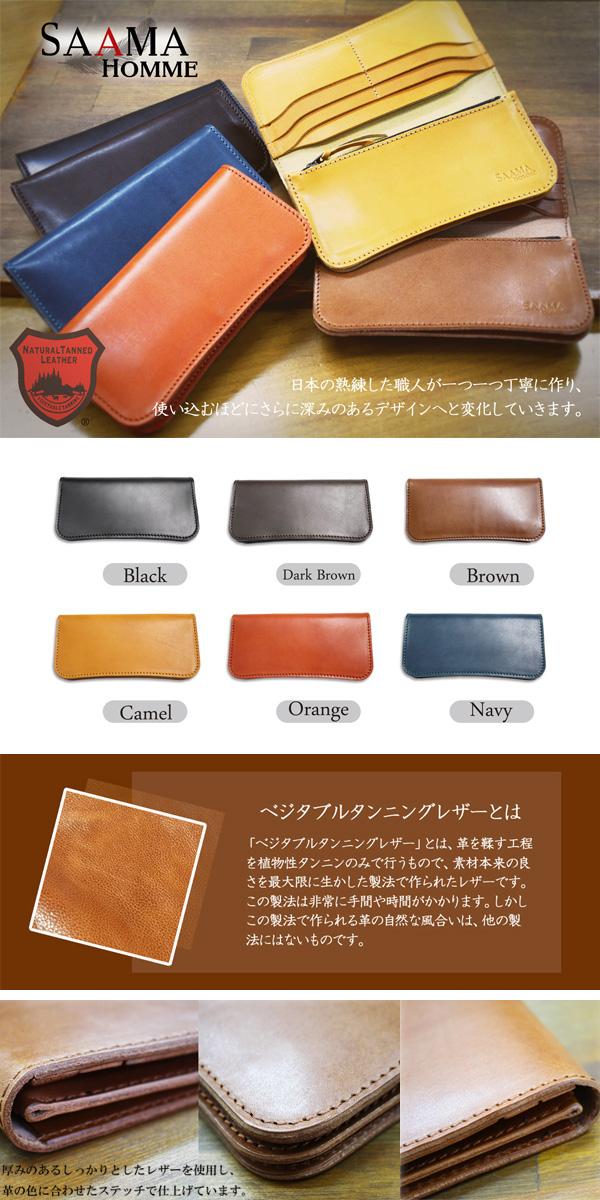 便利雑貨 ユニセックス サーマオム SAAMA HOMME 栃木レザー 長財布 SM-TG03-NV ネイビー