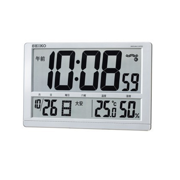 生活関連グッズ セイコー SEIKO クロック 電波 掛置兼用時計 温度湿度表示付き SQ433S シルバー