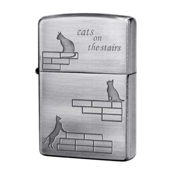 お役立ちグッズ メンズ ジッポ ZIPPO 猫階段 CATS on the Stairs 喫煙具 CATS-NB シルバー