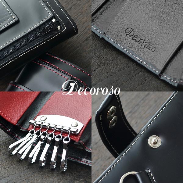 便利雑貨 メンズ デコローゾ Decoroso 馬革キーケース メンズ CL-1505BK ブラック